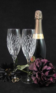 NEW 2 Winter Tree Branches Champagne Flutes,  Engraved Fine Crystal Gift for Bride & Groom, Personalized Wedding Present for Couple by bradgoodell on Etsy