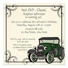 Antique Car Birthday 13 Cm X 13 Cm Square Invitation Card 75th Birthday Invitations, 75th Birthday Parties, Dad Birthday, Birthday Cards, Birthday Ideas, Birthday Wishes, Birthday Quotes, Happy Birthday, Cars Invitation