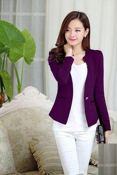 Spring Women Slim Blazer Coat 2016 New Fashion Casual Jacket Long Sleeve One Button Suit Ladies Blazers Work Wear Classy Outfits For Women, Stylish Outfits, Clothes For Women, Blazer Fashion, Suit Fashion, Fashion Outfits, Blazers For Women, Ladies Blazers, Women Blazer