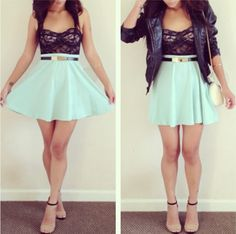 Go from day to date with this cute mint skater skirt