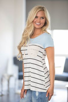This sweet striped blouse is made for sunny mornings and breezy afternoons! Featuring a colorblock print with light blue material on the top third and black/white stripes on the bottom two-thirds, thi 70s Outfits, Cute Casual Outfits, Fashion Outfits, Womens Fashion, Modest Dresses For Women, Preppy Dresses, Simple Summer Outfits, Summer Dress Outfits, Summer Clothes