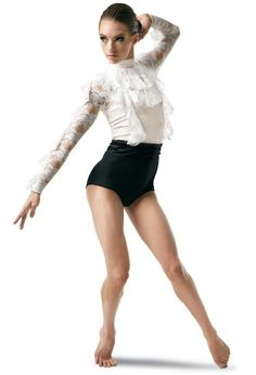 Lace Ruffle Long Sleeve Dance Leotard | Balera™