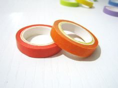 2 Washi Tape  Solid Orange and Pumpkin Orange  Set by pinkdotsetc