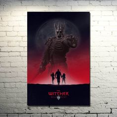 The Witcher 3 Wild Hunt - Wild Hunt and Silhouettes Silk Poster