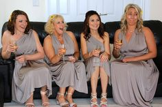 As the bride first walks in to see her bridesmaids   Multiway dresses from Marks and Spencer in Sage  #wedding #grey #lemon #sunflowers #photography