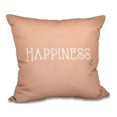 "Latitude Run Mae Coastal Happiness Throw Pillow Size: 20"" H x 20"" W, Color: Taupe"