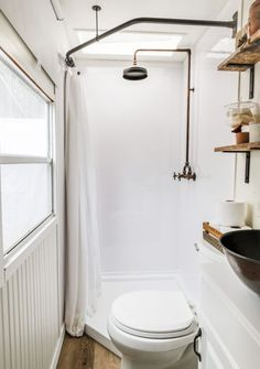 Light & Bright RV Bathroom Remodel REVEAL This RV bathroom remodel is simple and cute! This RV bathroom shower before and after is SO GOOD, such great small bathroom ideas! Definintely read this if you need some modern DIY RV bathroom remodel ideas! Camper Bathroom, Tiny House Bathroom, Small Bathroom, Tiny House Shower, Bathroom Interior, Asian Bathroom, Bathrooms Decor, Decorating Bathrooms, Modern Bathrooms