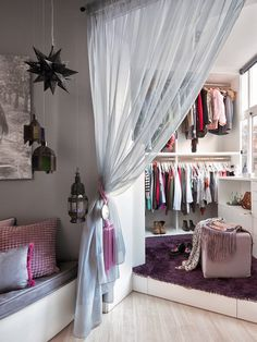 Step into the dressing ~ I like how the closet has a curtain instead of a door. Makes it feel more airy