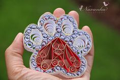Paper Quilling Paw Print Ornament with heart Paw Print