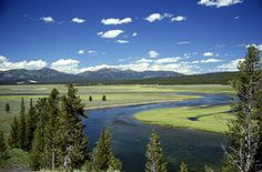 The northeastern part of Yellowstone Caldera, with the Yellowstone River flowing through Hayden Valley and the caldera rim in the distance