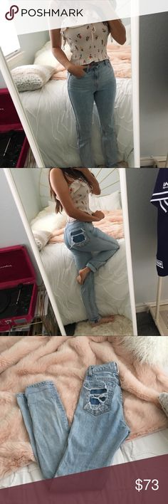 """Revice Uptown Stardust Straight Leg Jeans Revice Denim Uptown Stardust Jeans Light acid wash ish Jean, with dark destroyed pocket on one side Straight leg fit, high waist (booty hugging) very comfy and good quality fabric with a slight stretch  Size 26 W Inseam 32"""" (inches) 13"""" across waist laid flat  Fabric: (via website) - High Quality Candiani Italian Denim - 98% Cotton, 2% Elastane - Made in USA  Revice is my all time favorite jeans brand, they hug and lift your booty like magic fr…"""