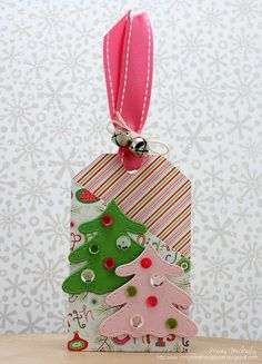by Tracey McNeely 25 Days Of Christmas, Homemade Christmas Cards, Christmas Tree Cards, Xmas Cards, Handmade Christmas, Christmas Crafts, Handmade Gift Tags, Holiday Gift Tags, Handmade Cards