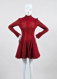 Robe Pour Les Femmes, Soirée Cocktail Fête À La Vente, Rouge, Laine, 2017, 12 14 Alexander Mcqueen