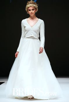 """Brides: Ivy & Aster - Fall """"Duchess"""" V-neck angora sweater worn with an A-line tulle skirt, Ivy & Aster Fall Wedding Suits, Fall Wedding Bridesmaids, 2015 Wedding Dresses, Wedding Dress Styles, Wedding Attire, Bridesmaid Dresses, Autumn Wedding, Bride Dresses, Christmas Wedding"""