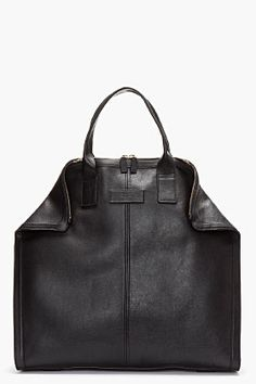 ALEXANDER MCQUEEN Black Leather De Manta City Tote