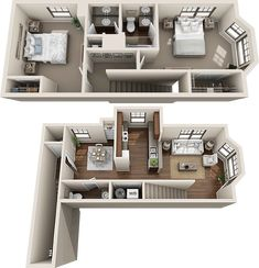 B2b Townhouse - Two Bedroom / One and 1/2 Bath - Tri-Level - 1,057 Sq. Ft.*