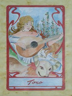 Dipinto eseguito a mano acrilico acquerellato su carta soggetto segno zodiacale TORO  formato 30 cm x 42 cm. Tecnica: Penna, Acrilico e Acquerello.