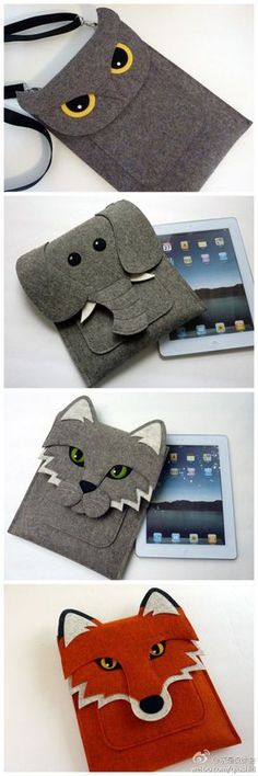 Cool Wool Felt Animal iPad Case, MacBook and Kindle Sleeves. I could make these, and you know I want the owl and the red fox. Felt Diy, Felt Crafts, Fabric Crafts, Sewing Crafts, Sewing Projects, Felt Projects, Pochette Portable, Felt Animals, Wool Felt