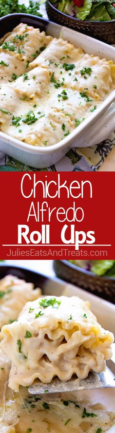 Chicken Alfredo Rollups ~ Creamy and Delicious! Lasagna Noodles Stuffed with Chicken, Cheese and Garlic Alfredo Make for a Quick and Delicious Dinner! ~ http://www.julieseatsandtreats.com