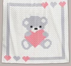 Crochet Pattern | Baby Blanket / Afghan - C2C - Sweet Heart - Chart + Basic Instructions