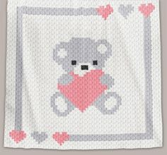 Crochet Pattern | Baby Blanket / Afghan - C2C - Sweet Heart - Chart + Basic Instructions
