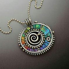Clay mosaic pendant