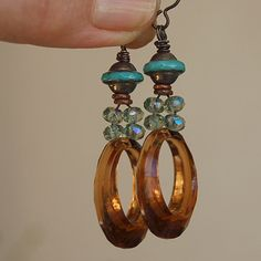 Golden Amber Hoop,  and Aqua Glass Earrings