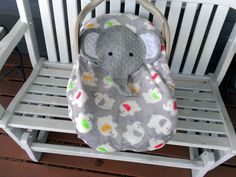 Appliqued Boys or Girls Elephant Infant /Baby Carrier Cover, Fleece, Elephants Carseat ,Gray  Minky by lindasnd on Etsy