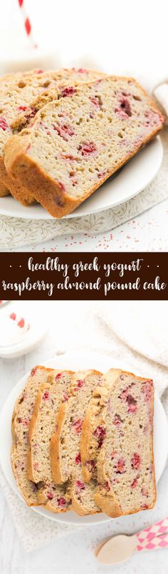 {HEALTHY!} Greek Yogurt Raspberry Almond Pound Cake -- only 126 calories! Sweet, SO tender & full of protein from Greek yogurt! It's really easy to make (no mixer required)! One of my all-time FAVORITE cake recipes -- you NEED to try this! | greek yogurt raspberry pound cake | easy pound cake recipe | almond pound cake loaf