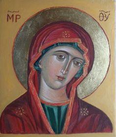 Matka Boska Pasyjna. Ikona pisana temperą
