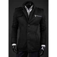 Jarní kabát černé barvy - manozo.cz Motorcycle Jacket, Nike, Coat, Jackets, Products, Fashion, Dressing Rooms, Down Jackets, Moda