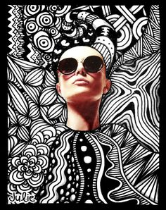 Zentangle Face with Sunglasses by starliteyes420 @ deviantART