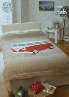 K4323 VW camping-car lit Double Throw/couverture/couvre-lit Knitting Pattern dans Super Chunky (Super volumineux) King Cole