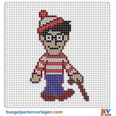 Waldo - Wally - Wo ist Walter Bügelperlen Vorlage