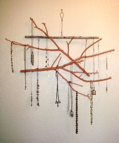 jewelry display made from twigs – perfect for necklaces and bracelets
