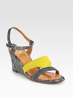 Chie Mihara - Finde Suede and Leather Colorblock Slingback Sandals - Saks.com