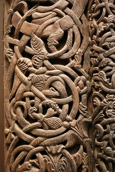 Norwegian carved door detail by donab, via Flickr