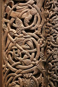 Norwegian carved door detail by donab, via Flickr