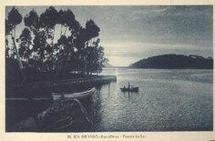 Puesta de sol en  Ramallosa en la Ría de Vigo - Tarjeta postal, Luciano Roisín (1930)