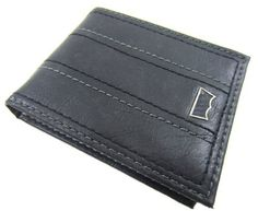Levi's Black Leather Passcase Bifold Wallet w/Double Center Stitching Levi's. $25.00. Bill compartment, 6 credit card slots, an ID window and 2 hidden card pockets. Levi's Flag Plaque. leather. Genuine Leather