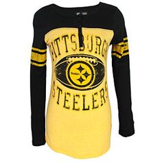 f78a6ac1af1 Get this Pittsburgh Steelers Ladies Distressed Logo Tri-Blend Long Sleeve T- Shirt at ThePittsburghFan.com