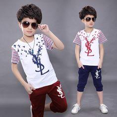 Boys Summer Outfits, Little Boy Outfits, Summer Boy, Kids Outfits, Cool Kids T Shirts, Boys T Shirts, Boys Tracksuits, Silk Screen T Shirts, Track Pants Mens