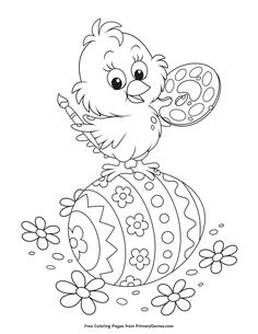 Free printable Easter Coloring Pages eBook for use in your classroom or home from PrimaryGames. Print and color this Chick Standing on Painted Egg coloring page.