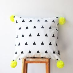 "Decorative Geometric Pillow, Modern Nursery Pillow, Kids Pillows, Teen Pillow, Neon Yellow Pompoms, Throw Pillow 16"" x 16"""