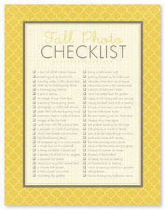 Fall Photo Checklist: a free download #photography #phototips
