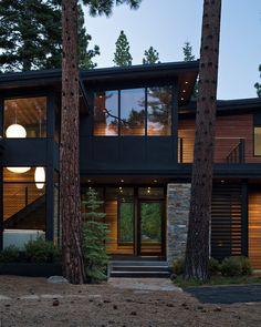 - Mountain Home Decor Modern Exterior, Exterior Design, Stone Patio Designs, Huntington Homes, Modern Mountain Home, Dream House Exterior, Modern House Design, Contemporary House Plans, Rustic Contemporary