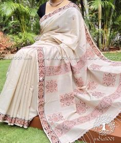 Fine Tussar Cotton Saree with Woven patterns
