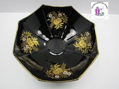 Art Deco Gold Flower Overlay Scalloped Edge Black Glass Footed Bowl