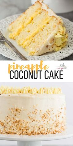 This Pineapple Coconut Cake is light fresh and fruity and covered in cream cheese whipped cream It s the perfect Easter dessert or anytime treat VIDEO dessert recipe recipes recipeoftheday easter cake Desserts Ostern, Köstliche Desserts, Easter Desserts, Easter Treats, Easter Food, Easter Recipes, Easter Snacks, Birthday Recipes, Best Birthday Cake Recipe