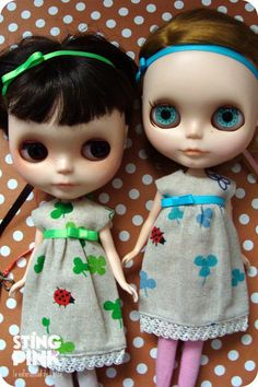 Blythe Doll Dress Clovers blue or green Japanese by StingPink, $13.00
